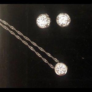 Jewelry - 18k WHITE GOLD PLATED CRYSTAL NECKLACE + STUDS SET